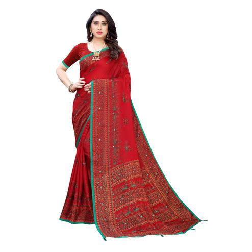 Pleasant Red Colored Party Wear Printed Linen Saree
