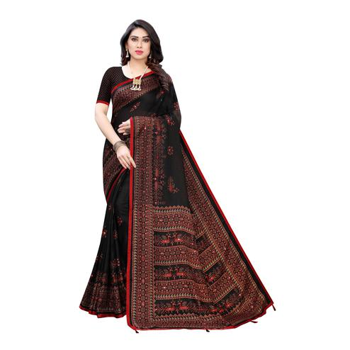 Opulent Black Colored Party Wear Printed Linen Saree