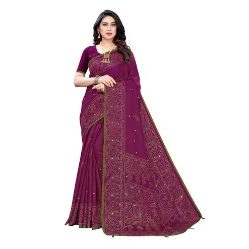 Glowing Purple Colroed Party Wear Printed Linen Saree