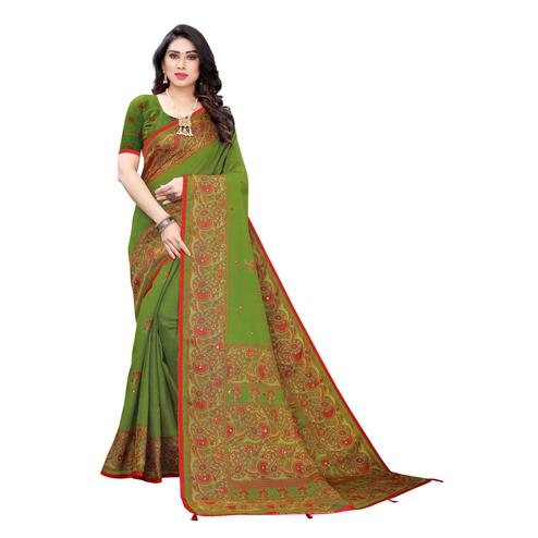 Exceptional Green Colroed Party Wear Printed Linen Saree