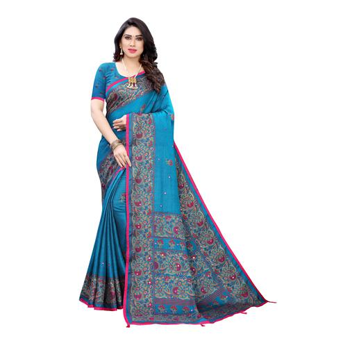 Mesmeric Turquoise Colroed Party Wear Printed Linen Saree