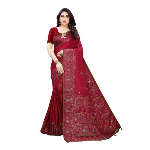 Demanding Red Colroed Party Wear Printed Linen Saree