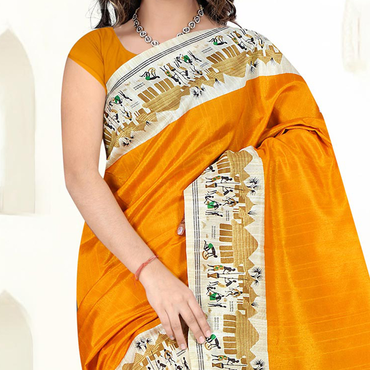 Yellow Casual Wear Bhagalpuri Silk Saree