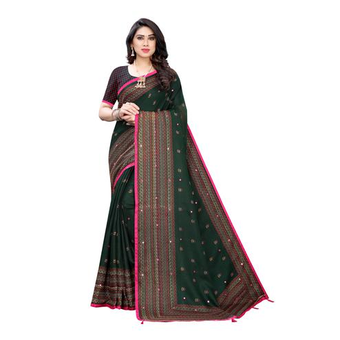 Magnetic Green Colroed Party Wear Printed Linen Saree