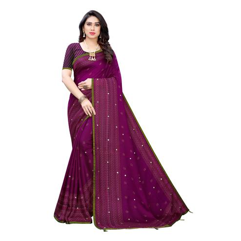 Flattering Purple Colroed Party Wear Printed Linen Saree