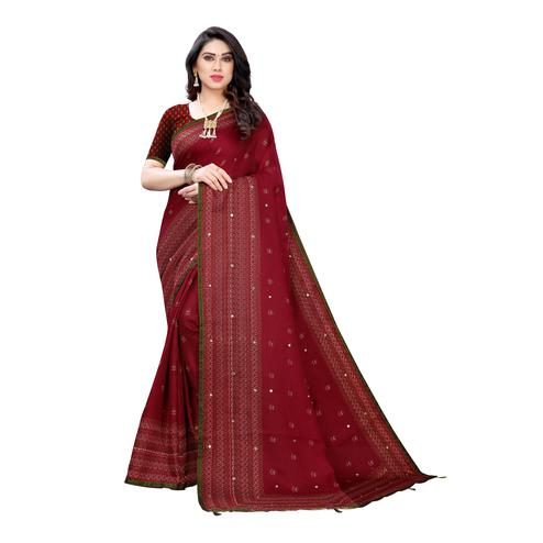Excellent Red Colroed Party Wear Printed Linen Saree
