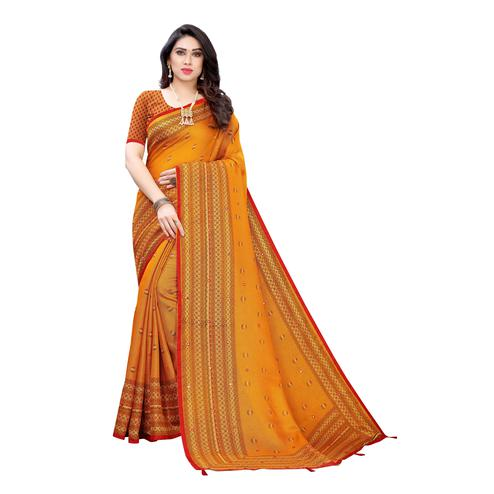 Preferable Yellow Colroed Party Wear Printed Linen Saree
