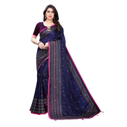 Marvellous Blue Colroed Party Wear Printed Linen Saree