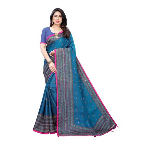 Flamboyant Turquoise Colroed Party Wear Printed Linen Saree