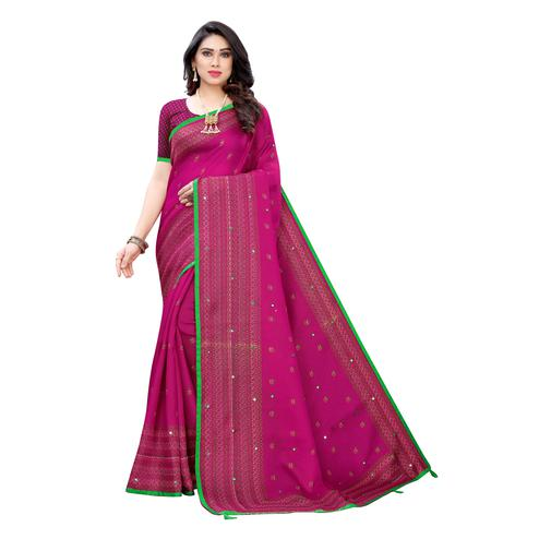 Pretty Pink Colroed Party Wear Printed Linen Saree
