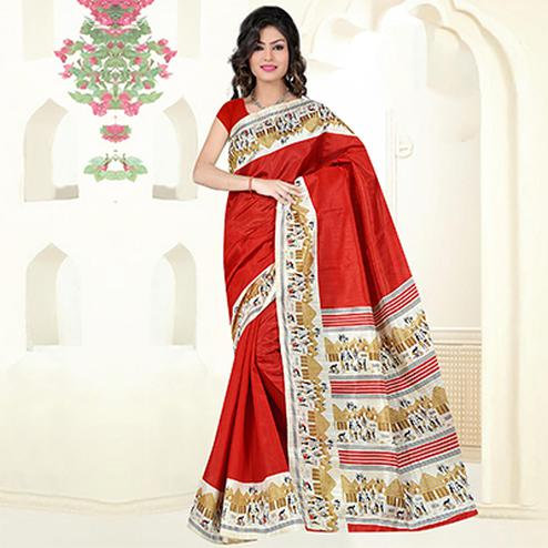 Red Casual Wear Bhagalpuri Silk Saree