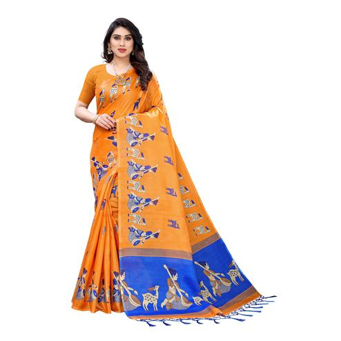 Sensational Orange Colored Casual Wear Printed Cotton Silk Saree With Tassels
