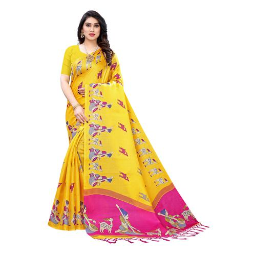 Flaunt Yellow Colored Casual Wear Printed Cotton Silk Saree With Tassels