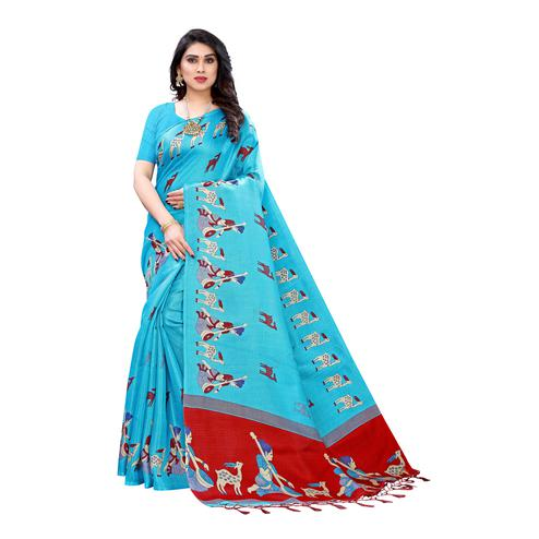Stunning Turquoise Colored Casual Wear Printed Cotton Silk Saree With Tassels