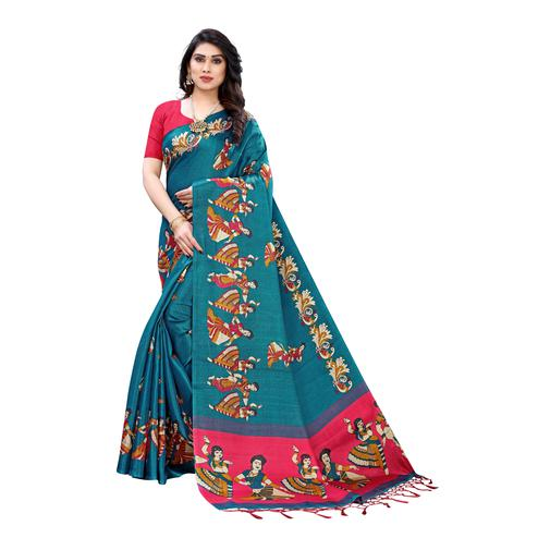 Flirty Turquoise Colored Casual Wear Printed Cotton Silk Saree With Tassels