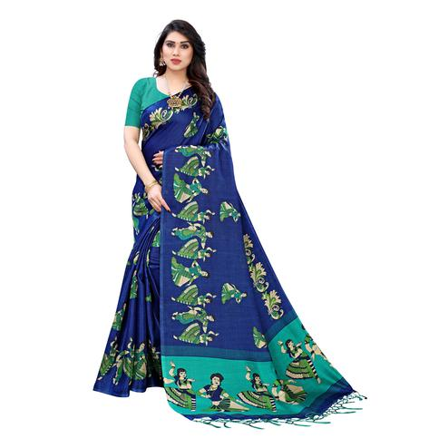 Prominent Classy Blue Colored Casual Wear Printed Cotton Silk Saree With Tassels