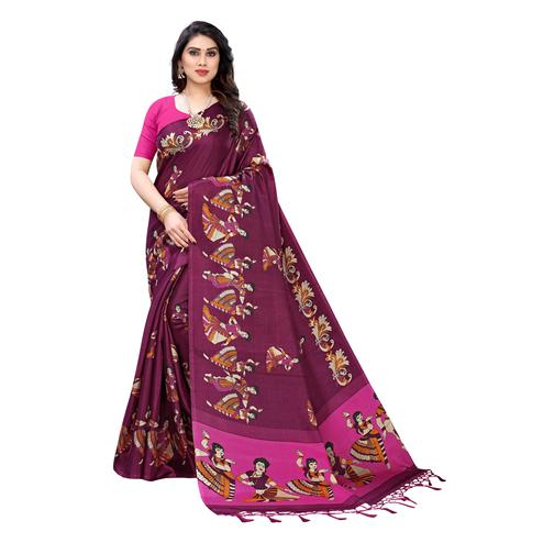 Exclusive Purple Colored Casual Wear Printed Cotton Silk Saree With Tassels