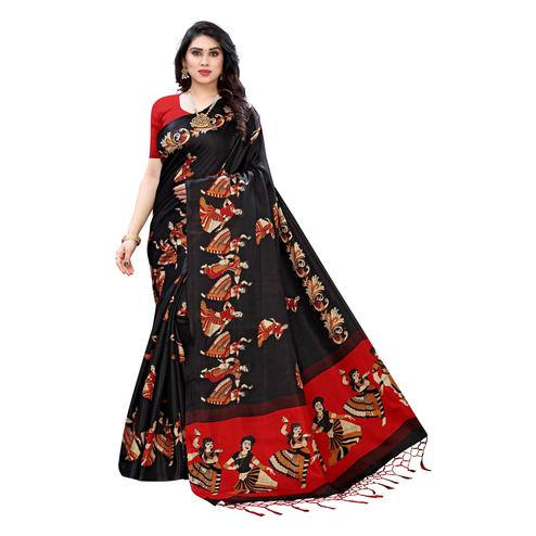 Capricious Black Colored Casual Wear Printed Cotton Silk Saree With Tassels