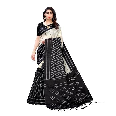 Entrancing Black Colored Casual Wear Geometric Printed Cotton Silk Saree