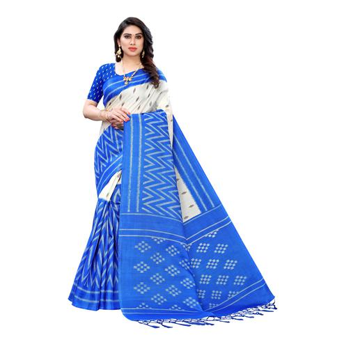 Groovy Blue Colored Casual Wear Geometric Printed Cotton Silk Saree