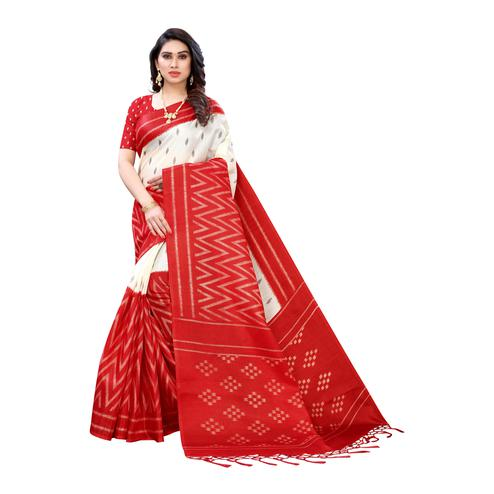 Adorning Red Colored Casual Wear Geometric Printed Cotton Silk Saree