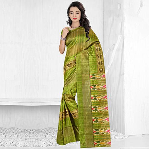 Green Festive Wear Bhagalpuri Silk Saree
