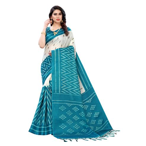 Adorable Turquoise Colored Casual Wear Geometric Printed Cotton Silk Saree