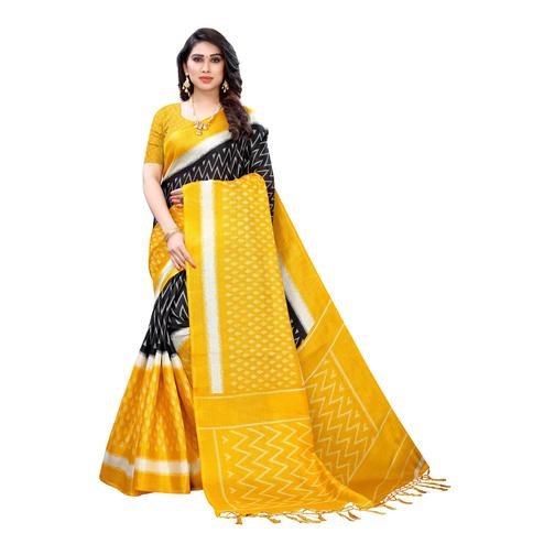 Attractive Yellow Colored Casual Wear Geometric Printed Cotton Silk Saree