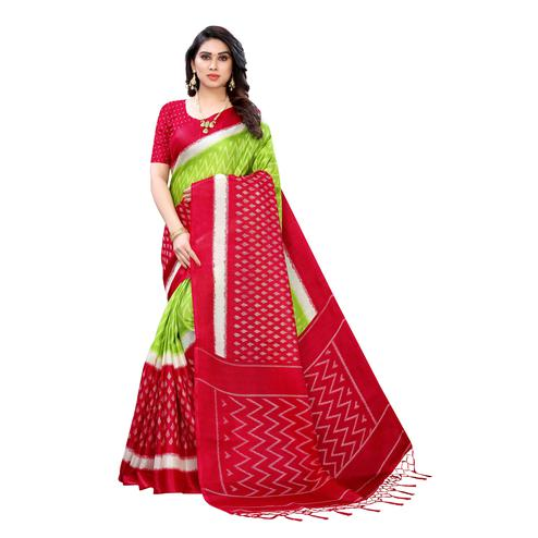 Graceful Red Colored Casual Wear Geometric Printed Cotton Silk Saree
