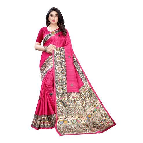 Charming Pink Colored Casual Wear Printed Cotton Silk Saree