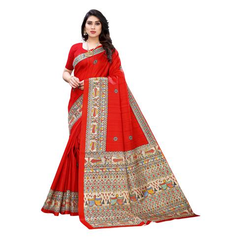 Jazzy Red Colored Casual Wear Printed Cotton Silk Saree