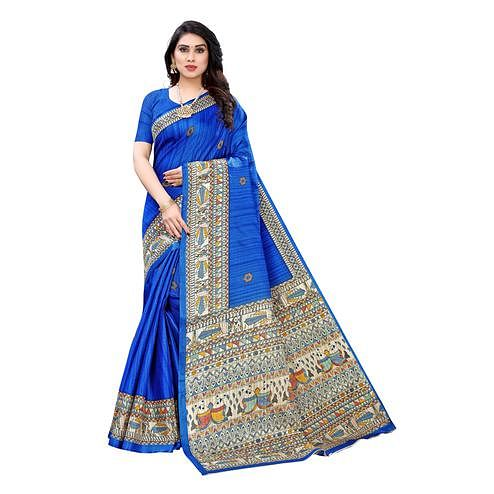 Engrossing Blue Colored Casual Wear Printed Cotton Silk Saree
