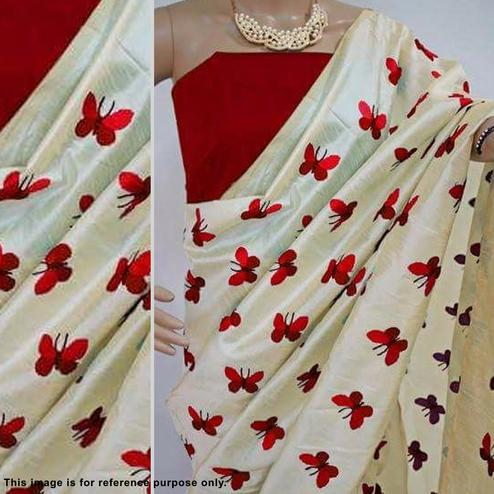 Amazing Cream Designer Embroidered Assami Silk Saree