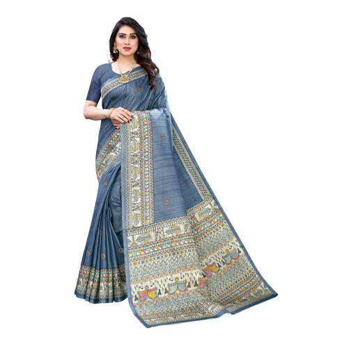 Captivating Grey Colored Casual Wear Printed Cotton Silk Saree
