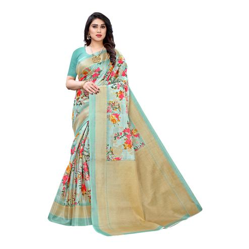 Innovative Turquoise Colored Casual Wear Floral Printed Cotton Silk Saree
