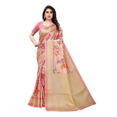 Eye-catching Pink Colored Casual Wear Floral Printed Cotton Silk Saree