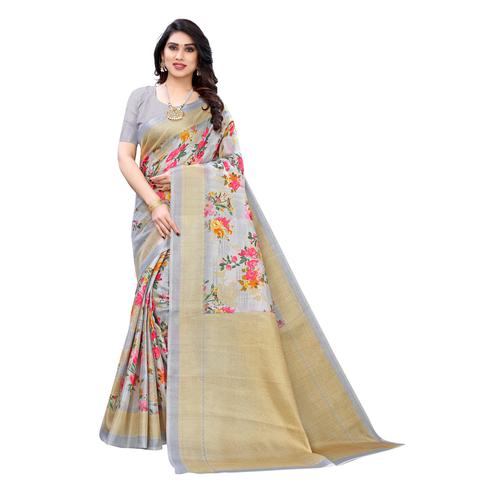 Amazing Grey Colored Casual Wear Floral Printed Cotton Silk Saree