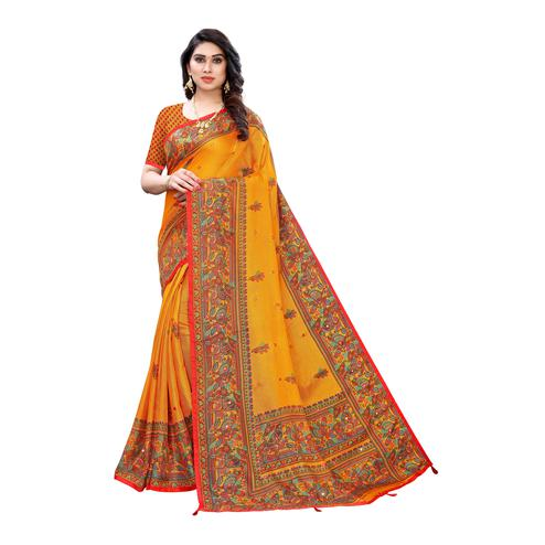 Gorgeous Yellow Colored Party Wear Printed Linen Saree