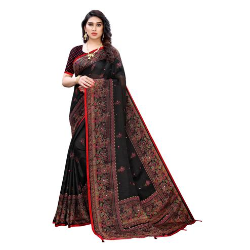 Blissful Black Colored Party Wear Printed Linen Saree