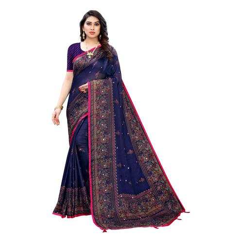 Ideal Blue Colored Party Wear Printed Linen Saree