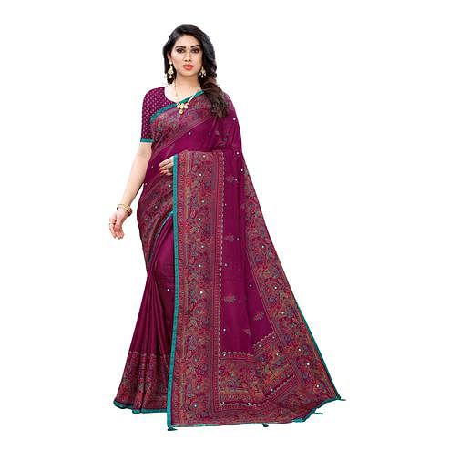 Imposing Purple Colored Party Wear Printed Linen Saree