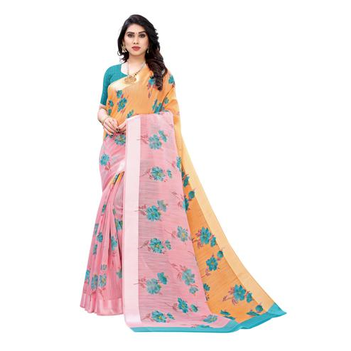 Lovely Pink-Orange Colored Casual Wear Floral Printed Linen Half-Half Saree