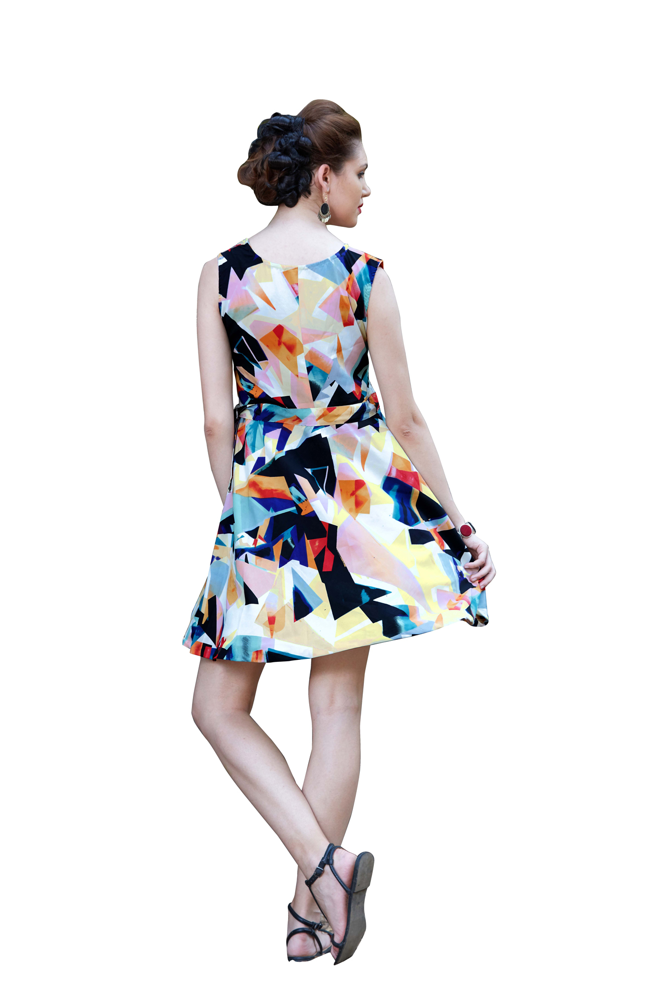 Multicolored Printed Western Dress