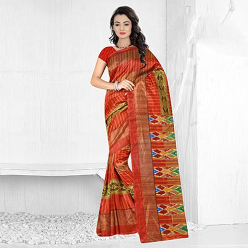 Red Festive Wear Bhagalpuri Silk Saree