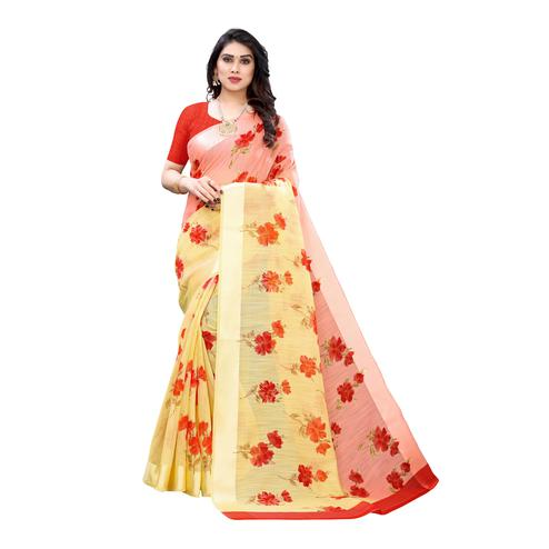 Impressive Yellow-Red Colored Casual Wear Floral Printed Linen Half-Half Saree