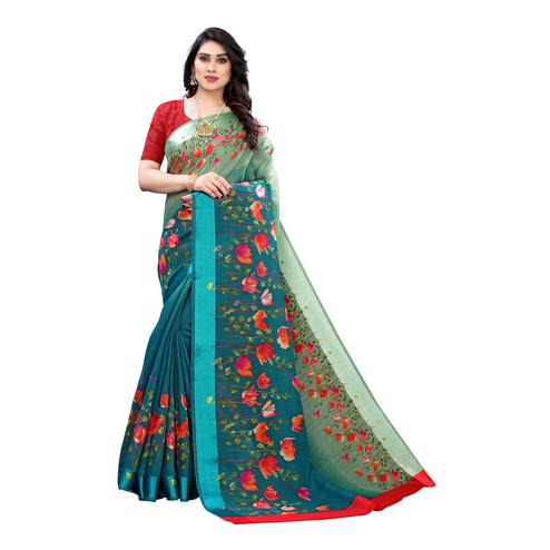 Pleasance Turquoise Colored Casual Wear Floral Printed Linen Half-Half Saree