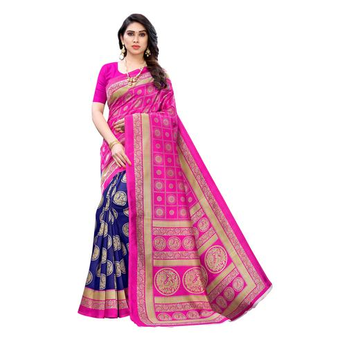 Surpassing Pink-Blue Colored Festive Wear Printed Art Silk Saree