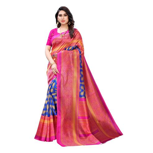 Classy Blue Colored Festive Wear Printed Art Silk Saree