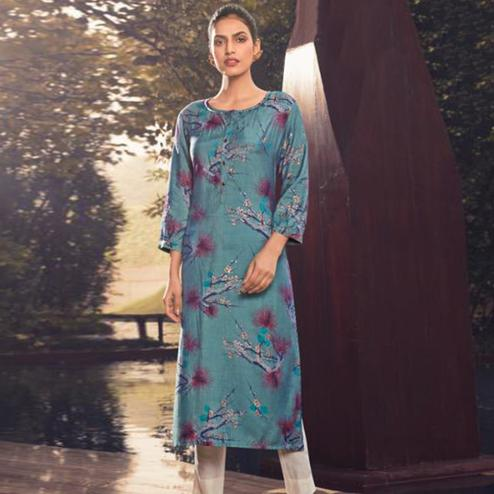 Classy Blue Colored Casual Wear Printed Muslin Kurti