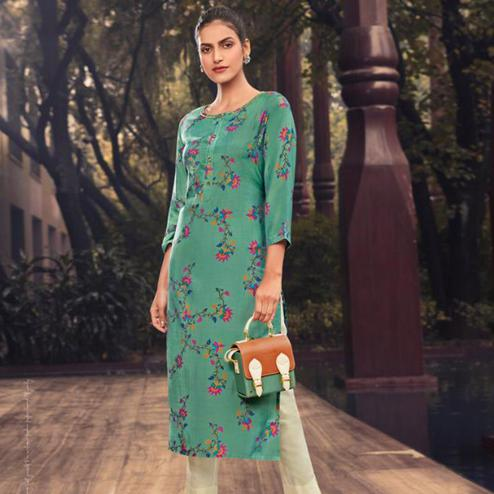 Exclusive Turquoise Green Colored Casual Wear Printed Muslin Kurti